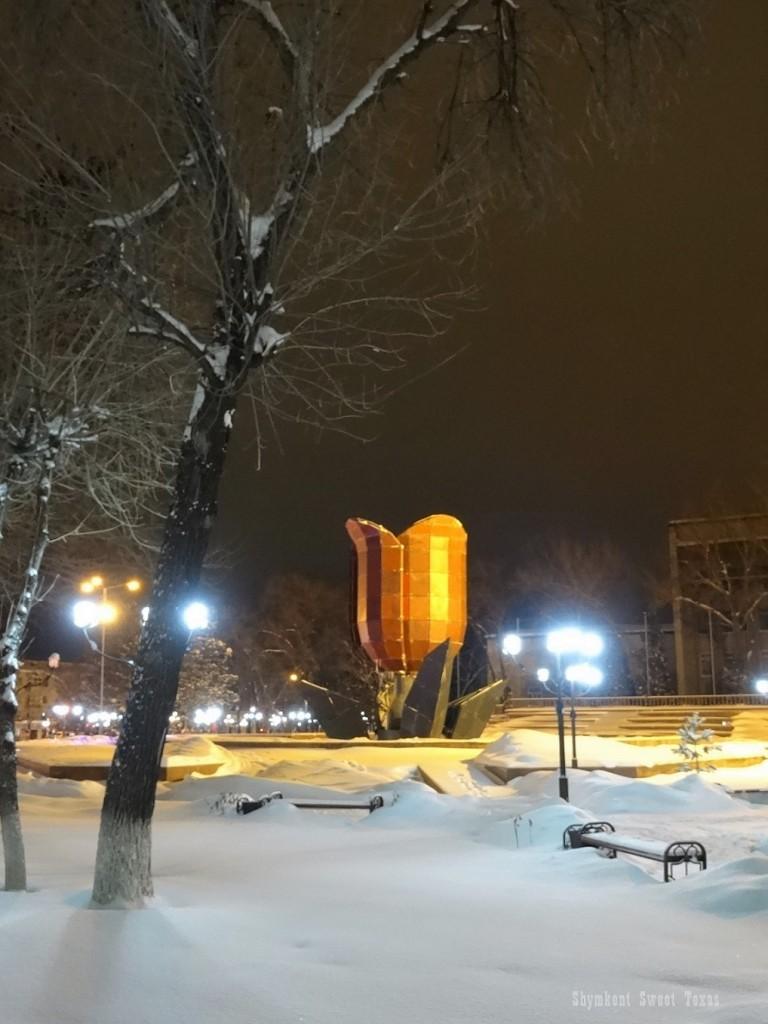 Fontaine tulipe dans la neige