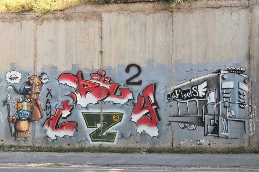 Street Art_Torekulov_Africain à Shymkent et train